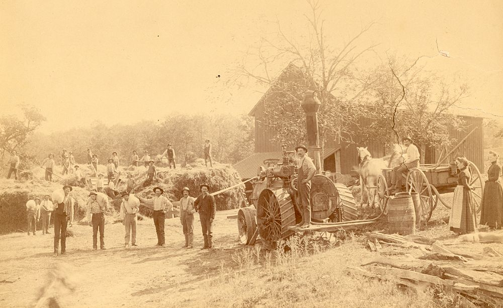 Peltz and Petermann Threshing Crew on the Stenger Farm near Victoria